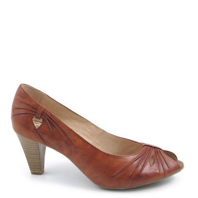 Caprice / Peeptoe-Pumps Hellbraun/Nut Antic, Leder