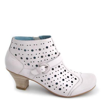 MARC / Sommer-Stiefelette Ankle Boots Marbella Weiss, gelochtes Leder