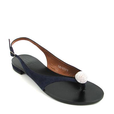 BP ZONE / Elegante Sandale Blau m. Strass-Dekors, Leder