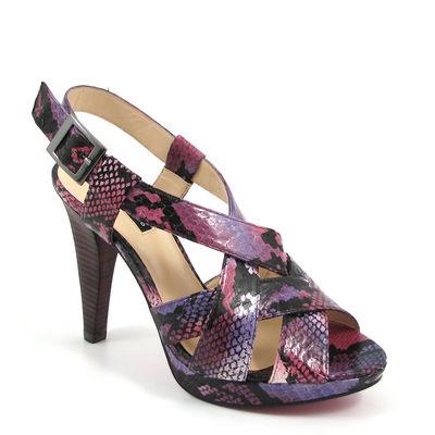 BELMONDO / Sandalette Schlangenleder-Optik - Fuchsia/Pink/Lila