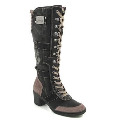 s.Oliver / Schnürstiefel Schwarz-Beige - Boots Black/Taupe