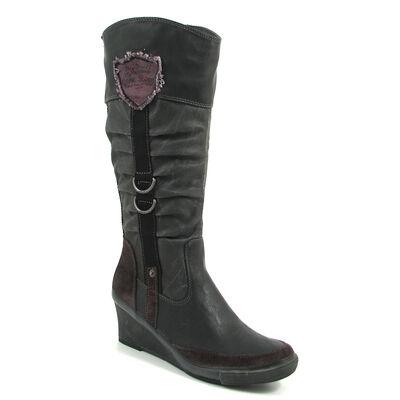 s.Oliver / Keilabsatz-Stiefel Schwarz - Boots Black - Keilstiefel