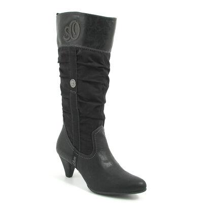 s.Oliver / Raffschaftstiefel Schwarz - Boots Black - elegante Stiefel