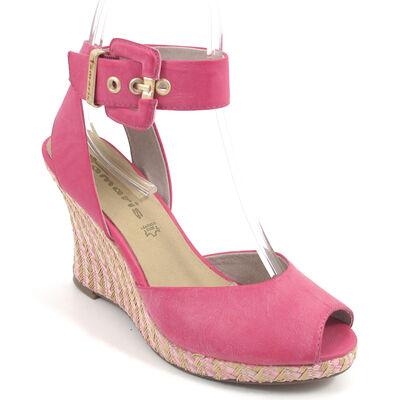 Tamaris / Keil-Sandalette Pink - Flecht-Keilabsatz
