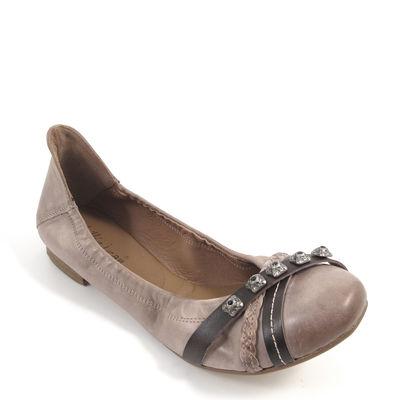 billie jean / Leder-Ballerina Beige-Tortora - italienische Schuhe