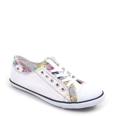 shoes&style / Stoff-Sneaker Weiss mit Blumen-Einsatz