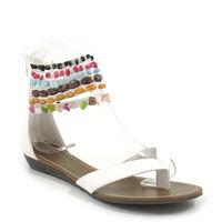shoes&style / Sandale Weiss-Bunt - Zehentrenner mit Steinchen/Perlen