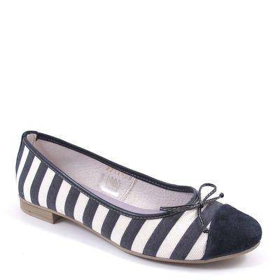 Tamaris / Ballerina Blau-Weiss gestreift - Slipper Navy/White Stripe
