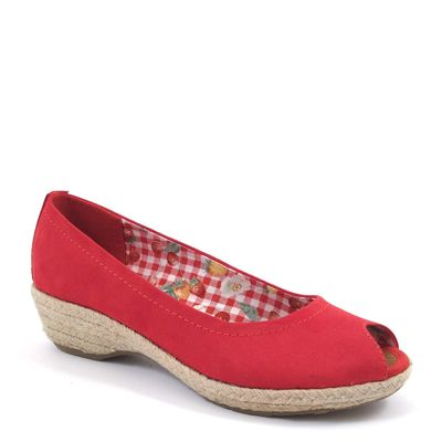 Tamaris / Peeptoes Rot - Slipper Chili - m. Bast-Sohle