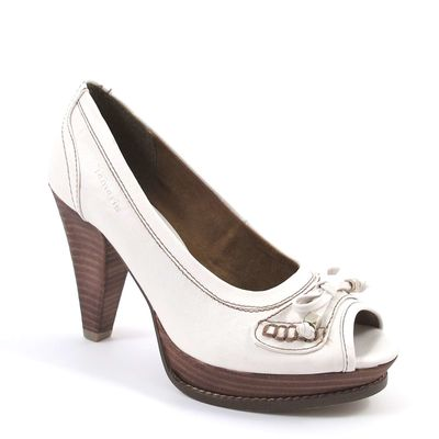 Tamaris / Pumps Weiss - Plateaupumps m. Schleife - Peeptoes White