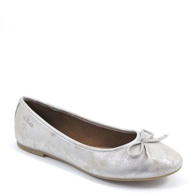 s.Oliver / Ballerina Silber - Slipper Silver - mit Schleifchen