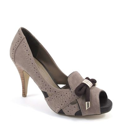 s.Oliver / Pumps Taupe/Cafe - Peeptoes Grau/Braun - Plateau Stiletto