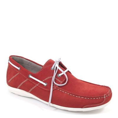 air4men by Caprice / Herren-Mokassin Rot - Schnürer Red Suede - Bootsschuh