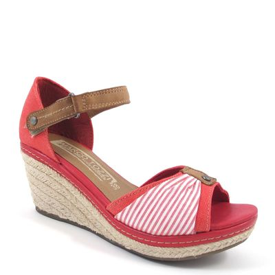 Marco Tozzi / Keilabsatz-Sandalette Rot-Weiss Stripes - Wedges Chili Comb
