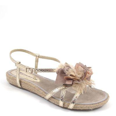 Tamaris / Sandale Gold - Espadrille-Sandalette Metallic m. Stoff-Blüten