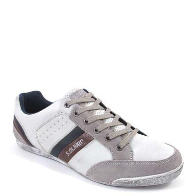 s.Oliver / Herren Sneaker Weiss-Grau - Schnürschuhe Light Grey Com