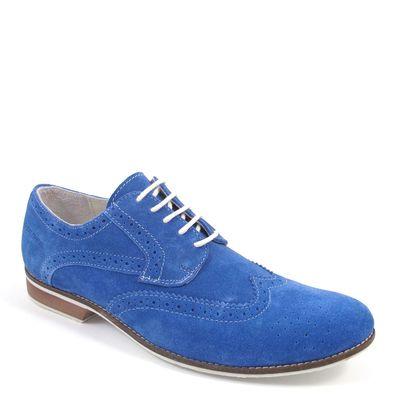 s.Oliver / Schnürer Sky Blue - elegante Herrenschuhe Blau - Budapester Form