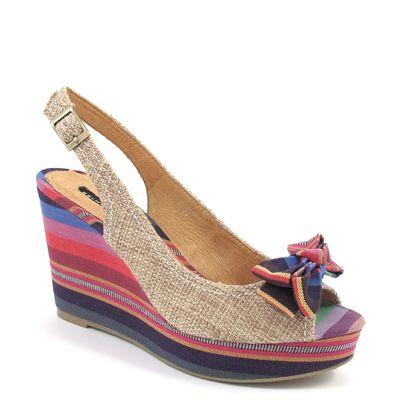 BELMONDO / Peeptoe-Sling mit Keilabsatz Beige/Bunt - Sandalette Sabbia Combi