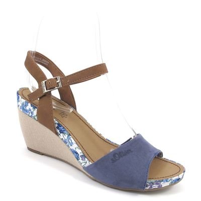 s.Oliver / Keilsandalette Blau - Sandalette mit Keilabsatz Denim