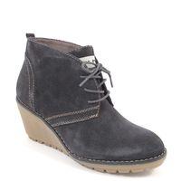 s.Oliver / Ankle Boots Petrol/Grau - Krepp-Wedge