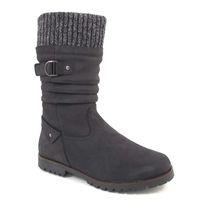 Caprice / Stiefel Schwarz - Boots Black - warm gefüttert mit Strick-Kragen