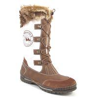 Tamaris / Snowboots Weiss/Braun - Nylon-Stiefel mit Pez und Schnürung Muscat/White