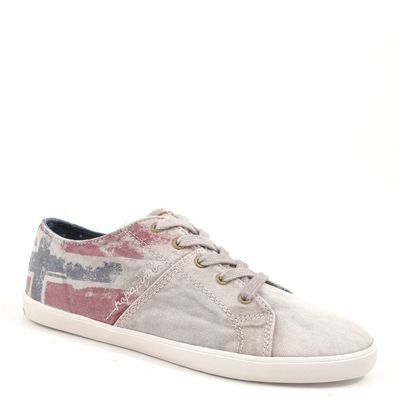 NAPAPIJRI / SARA OFF WHITE - Canvas Sneaker Weiss-Washed - Norwegische Flagge