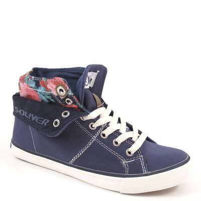 s.Oliver / Hi-Sneaker Blau - Canvas-Schuhe mit Umschlag-Schaft - Navy Comb