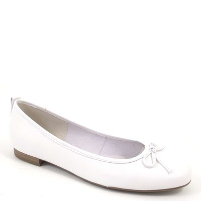 Tamaris / Ballerina Weiss - Leder Ballerinas White - Klassisch m. Schleife