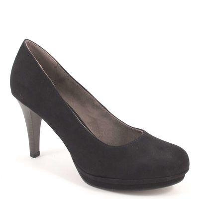 Tamaris / Pumps Schwarz - Plateaupumps Black Suede - High Heels