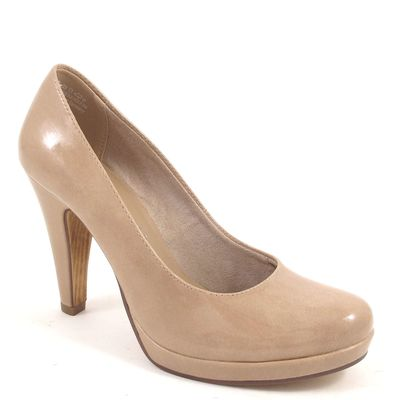 Tamaris / Pumps Beige Lack - Lackpumps Nude Patent - Plateau High Heels