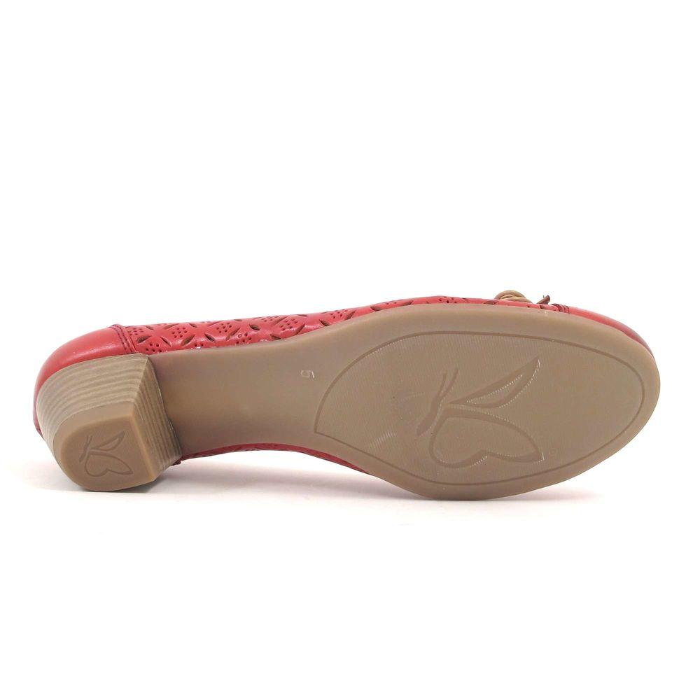 Caprice / Pumps Rot/Beige - Damenpumps Red/Beige mit Schleife und Lochung