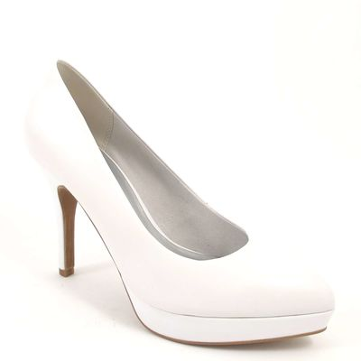 Tamaris / Plateau Pumps Weiss - High Heels White - Pfennigabsatz