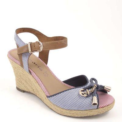 Tamaris / Sandalette Blau Rot Weiss - Wedges Blue Comb - Sandaletten m. Keilabsatz