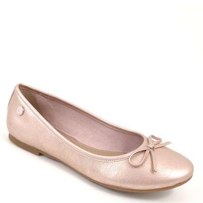 s.Oliver / Ballerinas Metallic Rosa - Slipper Rose - mit Schleife/Schleifchen