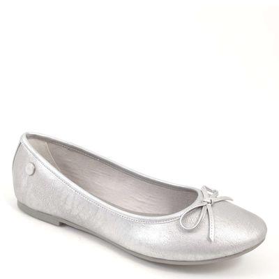 s.Oliver / Ballerinas Metallic Silber - Slipper Silver - mit Schleife/Schleifchen