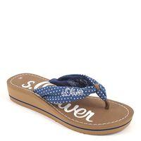 s.Oliver / Dianette Blue Comb - Zehentrenner Blau gepunktet - Pantoletten