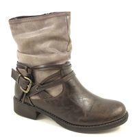 s.Oliver / Boots Mocca/Cigar - Bikerstiefel Braun-Grau - Riemchen/Schnalle/Raffung