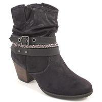 s.Oliver / Stiefeletten Schwarz - Ankle Boots Black - Riemen, Schnalle, Flecht