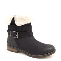s.Oliver / Lammfell Stiefel Schwarz - Leder Boots Black - Warmfutter aus Wolle