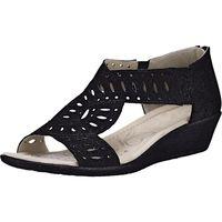 Caprice / Sandalette Schwarz - Keilabsatz Sandaletten mit dekorativer Perforierung