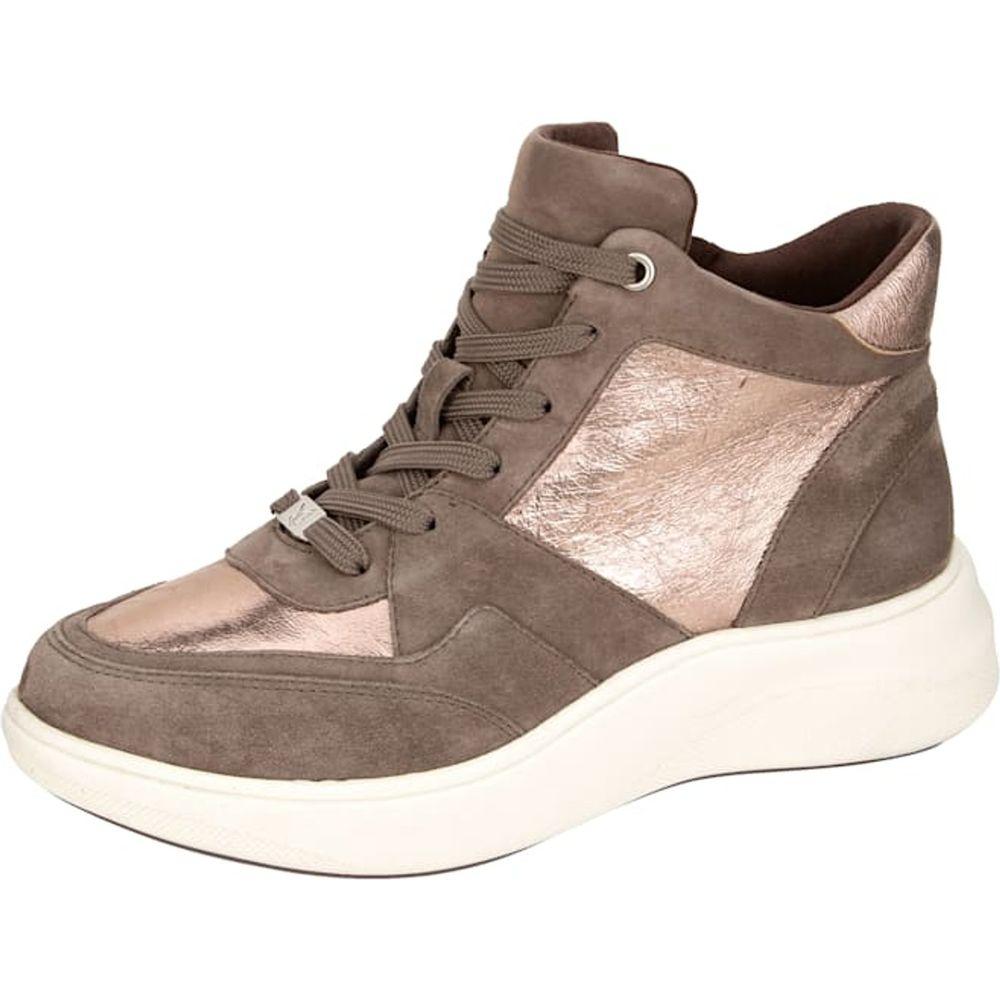 Caprice / Sportiver High Sneaker aus Ziegenveloursleder, Taupe - Freizeitschuh
