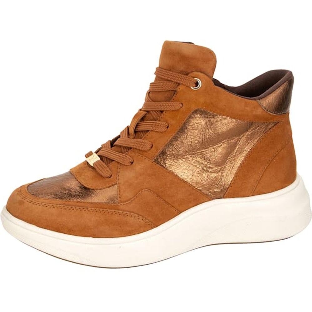 Caprice / Sportiver High Sneaker aus Ziegenveloursleder, Cognac - Freizeitschuh