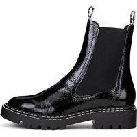 Tamaris / Chelsea-Boots Schwarz, Chunky Lackleder Boots Black