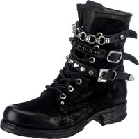 A.S.98 / Schnürstiefeletten m. Riemchen Schwarz, Leder Boots Black